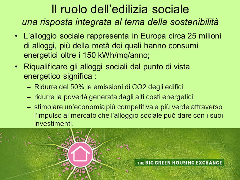 Il ruolo dell'edilizia sociale una risposta integrata al tema della sostenibilità L'alloggio sociale rappresenta in Europa circa 25 milioni di alloggi, più della metà dei quali hanno consumi energetici oltre i 150 kWh/mq/anno; Riqualificare gli alloggi sociali dal punto di vista energetico significa : –Ridurre del 50% le emissioni di CO2 degli edifici; –ridurre la povertà generata dagli alti costi energetici; –stimolare un'economia più competitiva e più verde attraverso l'impulso al mercato che l'alloggio sociale può dare con i suoi investimenti.