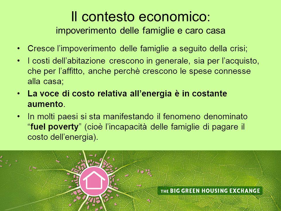 Il contesto economico : impoverimento delle famiglie e caro casa Cresce l'impoverimento delle famiglie a seguito della crisi; I costi dell'abitazione crescono in generale, sia per l'acquisto, che per l'affitto, anche perchè crescono le spese connesse alla casa; La voce di costo relativa all'energia è in costante aumento.