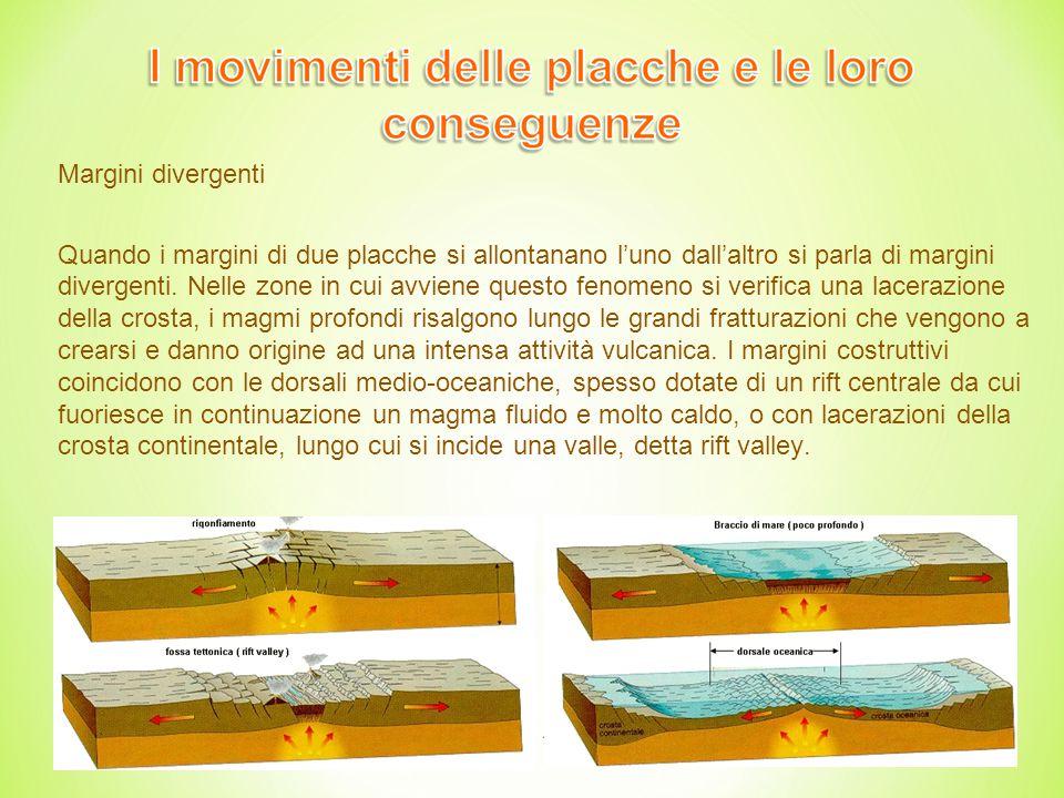11 Margini divergenti Quando i margini di due placche si allontanano l'uno dall'altro si parla di margini divergenti.