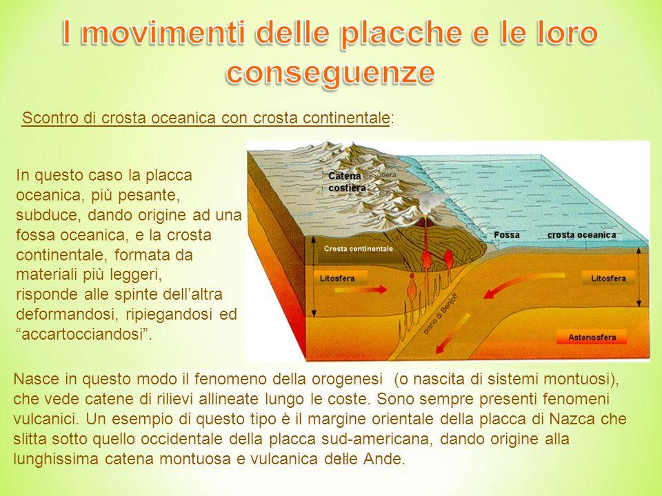 15 In questo caso la placca oceanica, più pesante, subduce, dando origine ad una fossa oceanica, e la crosta continentale, formata da materiali più leggeri, risponde alle spinte dell'altra deformandosi, ripiegandosi ed accartocciandosi .