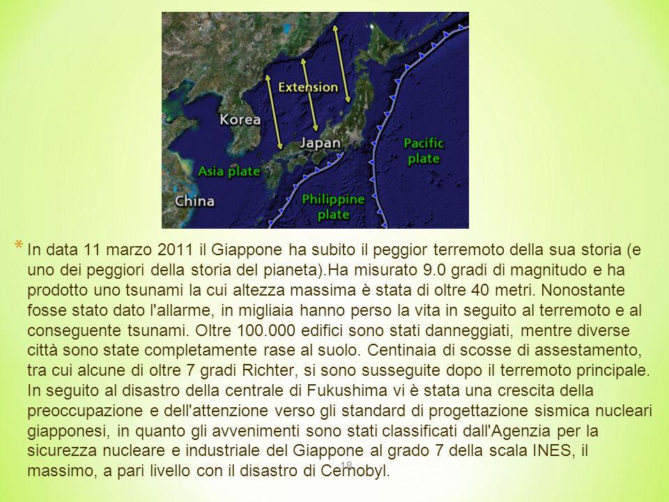 18 * In data 11 marzo 2011 il Giappone ha subito il peggior terremoto della sua storia (e uno dei peggiori della storia del pianeta).Ha misurato 9.0 gradi di magnitudo e ha prodotto uno tsunami la cui altezza massima è stata di oltre 40 metri.