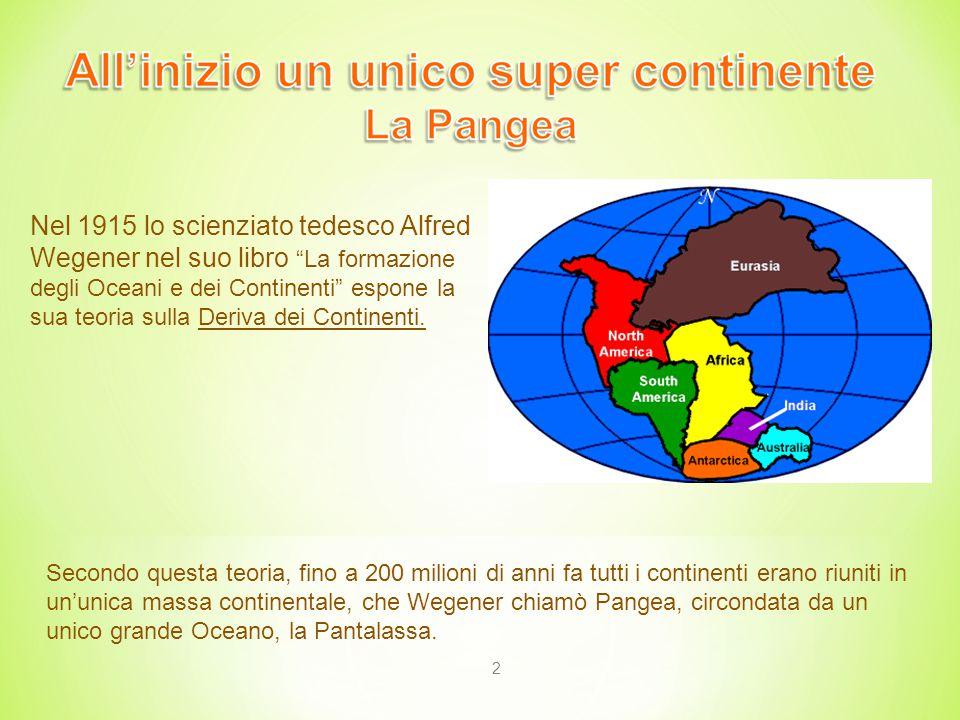 2 Nel 1915 lo scienziato tedesco Alfred Wegener nel suo libro La formazione degli Oceani e dei Continenti espone la sua teoria sulla Deriva dei Continenti.