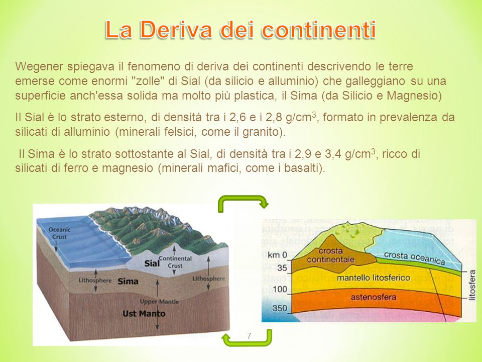 7 Wegener spiegava il fenomeno di deriva dei continenti descrivendo le terre emerse come enormi zolle di Sial (da silicio e alluminio) che galleggiano su una superficie anch essa solida ma molto più plastica, il Sima (da Silicio e Magnesio) Il Sial è lo strato esterno, di densità tra i 2,6 e i 2,8 g/cm 3, formato in prevalenza da silicati di alluminio (minerali felsici, come il granito).