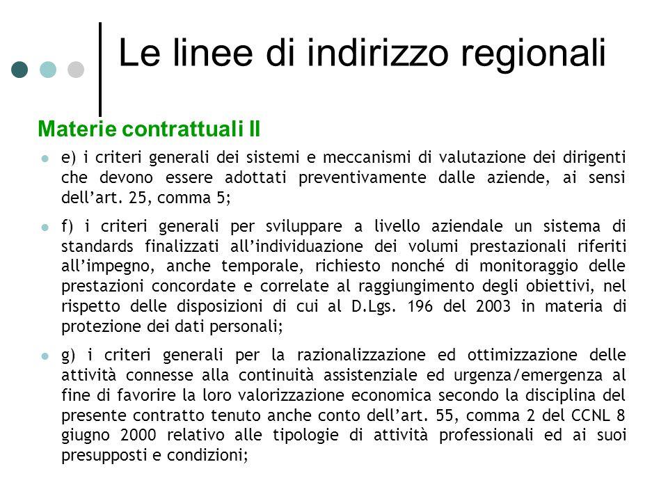 Le linee di indirizzo regionali Materie contrattuali II e) i criteri generali dei sistemi e meccanismi di valutazione dei dirigenti che devono essere adottati preventivamente dalle aziende, ai sensi dell'art.