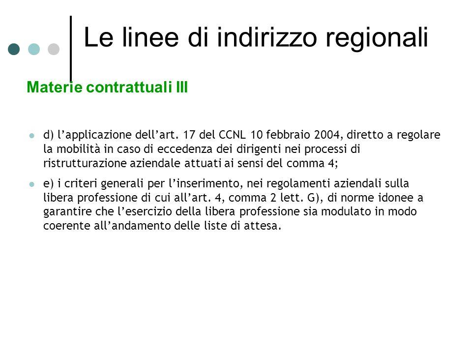 Le linee di indirizzo regionali Materie contrattuali III d) l'applicazione dell'art.