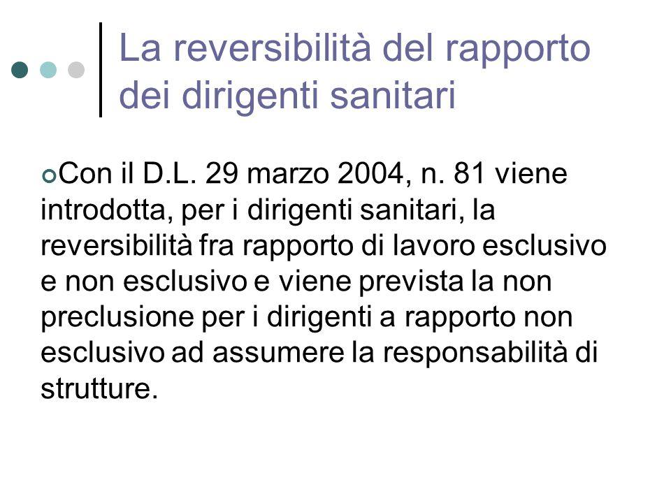 La reversibilità del rapporto dei dirigenti sanitari Con il D.L.