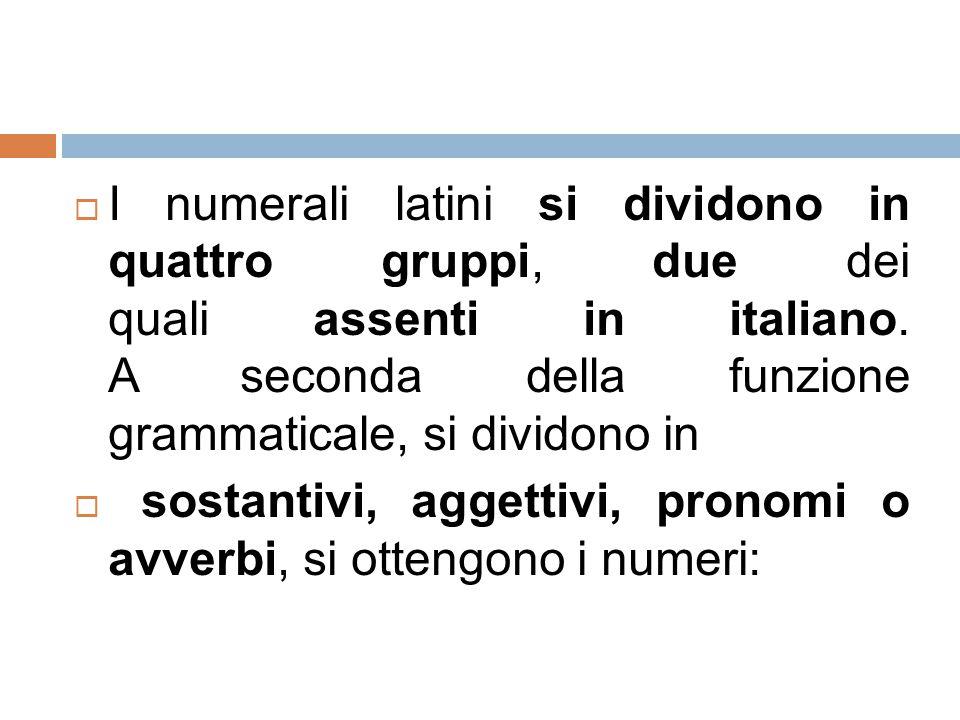  I numerali latini si dividono in quattro gruppi, due dei quali assenti in italiano. A seconda della funzione grammaticale, si dividono in  sostanti