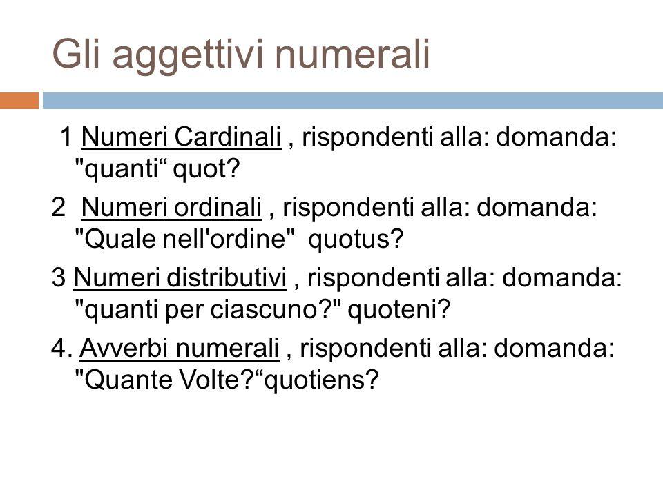 I numerali cardinali sono indeclinabili tranne SINGOLAREPLURALE NUNUSUNAUNUMUNIUNAEUNA GUNIUS UNORUMUNARUMUNORUM DUNI UNIS AUNUMUNAMUNUMUNOSUNASUNA ABLUNOUNAUNOUNIS