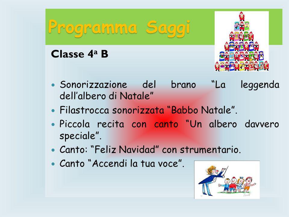 Programma Saggi Classe 4 a B Sonorizzazione del brano La leggenda dell'albero di Natale Filastrocca sonorizzata Babbo Natale .