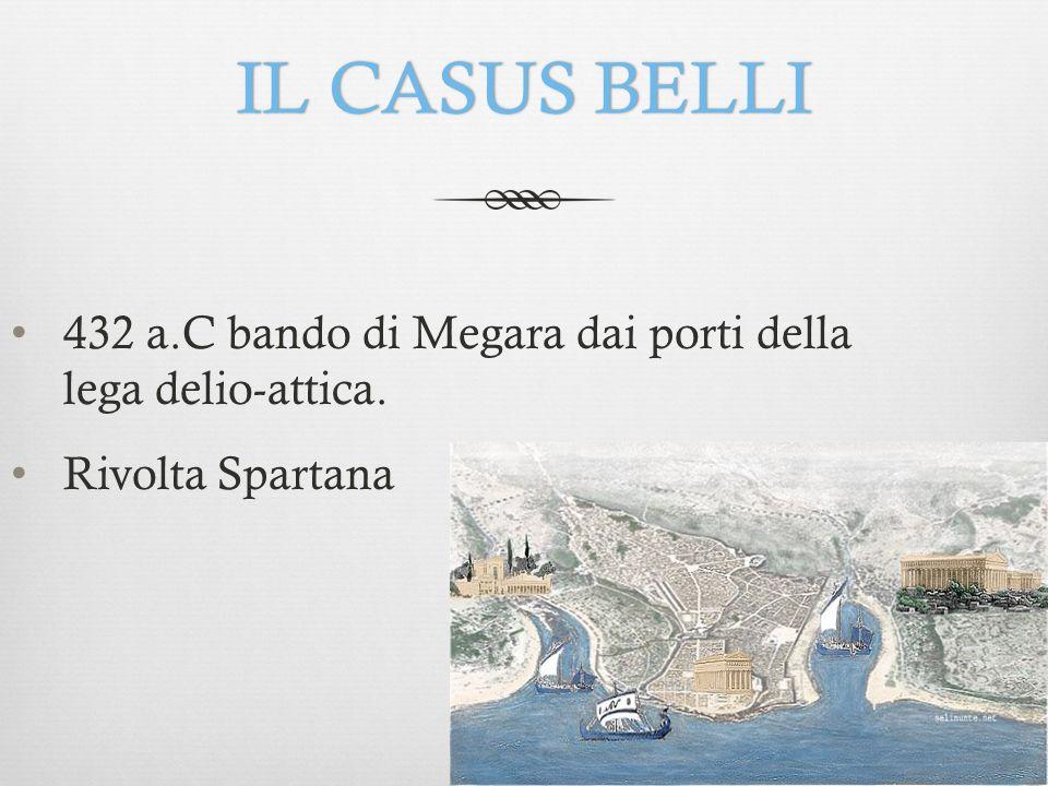 IL CASUS BELLIIL CASUS BELLI 432 a.C bando di Megara dai porti della lega delio-attica. Rivolta Spartana