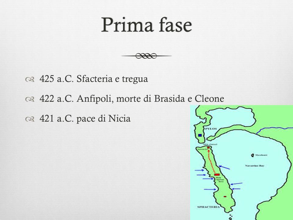 Prima fasePrima fase  425 a.C. Sfacteria e tregua  422 a.C. Anfipoli, morte di Brasida e Cleone  421 a.C. pace di Nicia