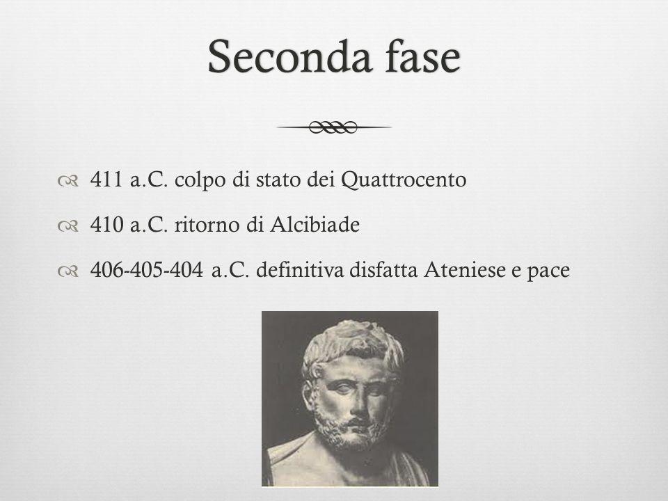 Seconda faseSeconda fase  411 a.C. colpo di stato dei Quattrocento  410 a.C. ritorno di Alcibiade  406-405-404 a.C. definitiva disfatta Ateniese e