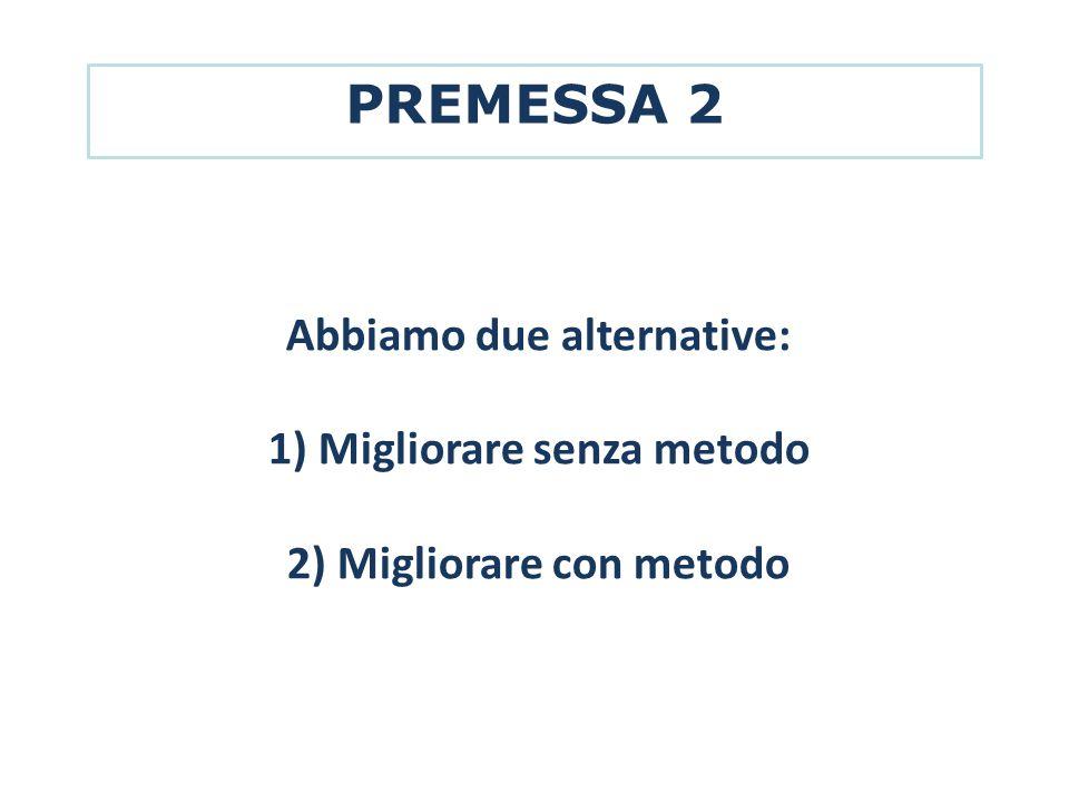 PREMESSA 2 Abbiamo due alternative: 1) Migliorare senza metodo 2) Migliorare con metodo