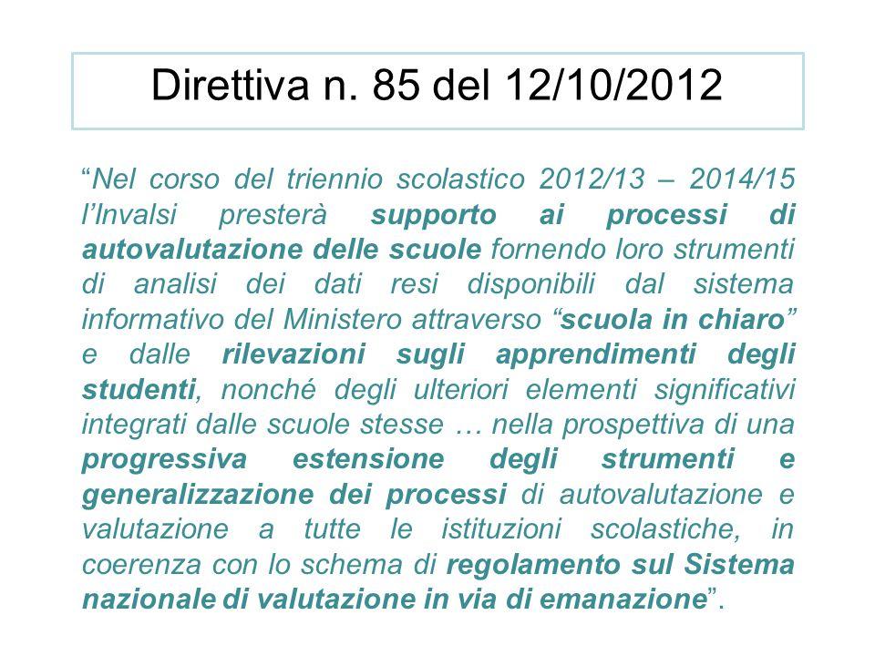 """Direttiva n. 85 del 12/10/2012 """"Nel corso del triennio scolastico 2012/13 – 2014/15 l'Invalsi presterà supporto ai processi di autovalutazione delle s"""