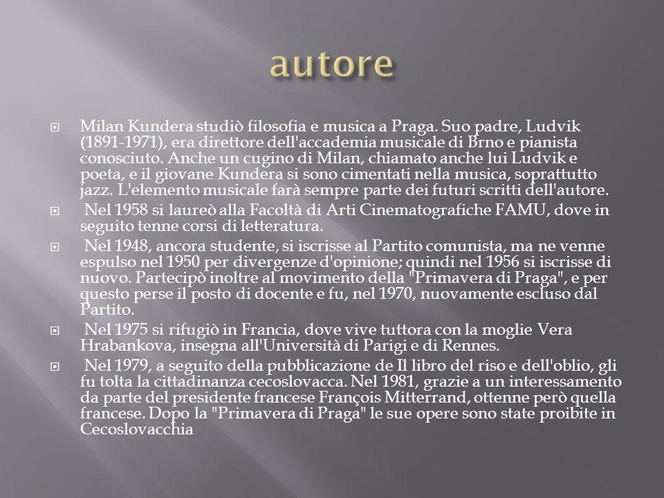  Milan Kundera studiò filosofia e musica a Praga. Suo padre, Ludvik (1891-1971), era direttore dell'accademia musicale di Brno e pianista conosciuto.