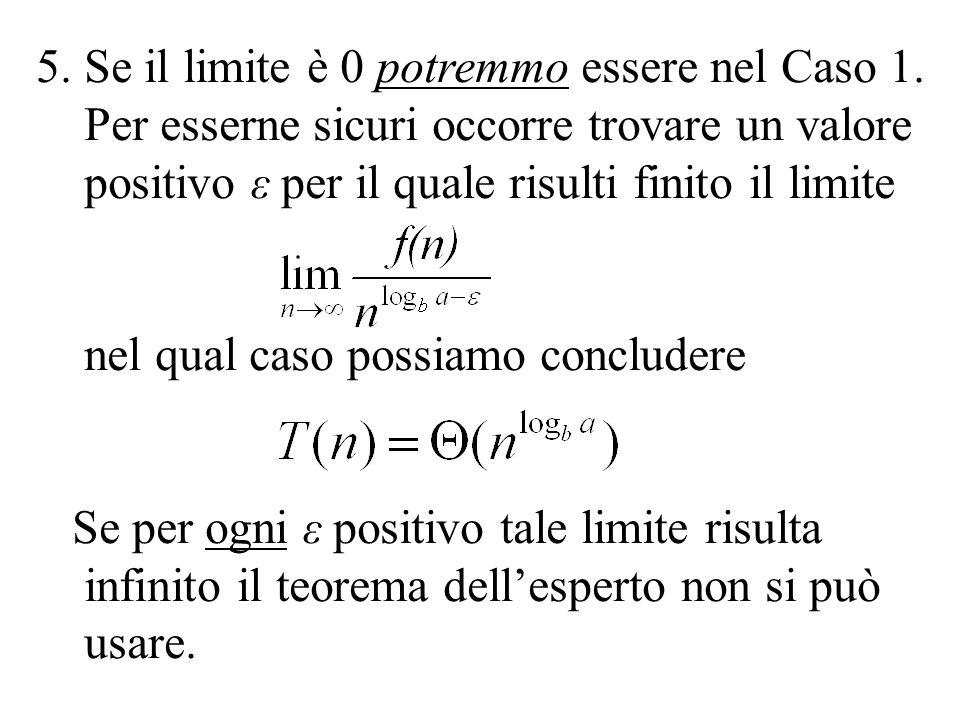 5.Se il limite è 0 potremmo essere nel Caso 1. Per esserne sicuri occorre trovare un valore positivo ε per il quale risulti finito il limite nel qual
