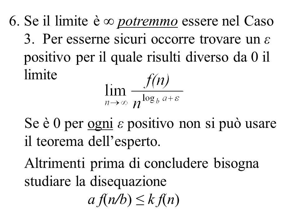 6.Se il limite è ∞ potremmo essere nel Caso 3. Per esserne sicuri occorre trovare un ε positivo per il quale risulti diverso da 0 il limite Se è 0 per
