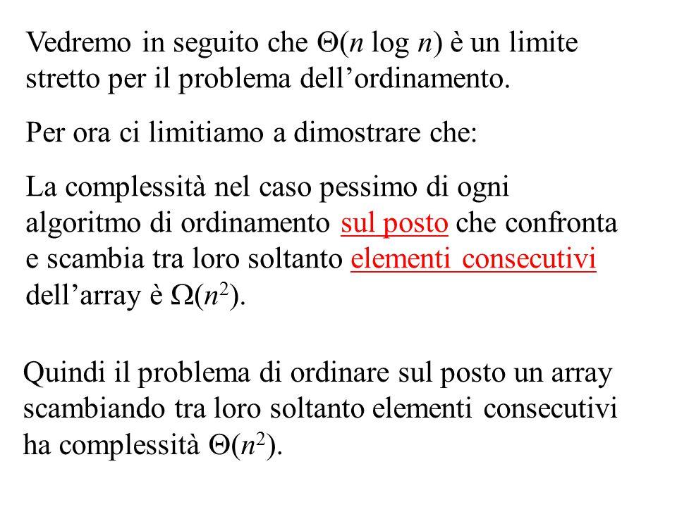 Vedremo in seguito che  (n log n) è un limite stretto per il problema dell'ordinamento. Per ora ci limitiamo a dimostrare che: La complessità nel cas