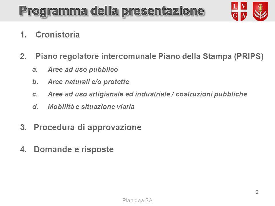 Planidea SA  Cronistoria  Piano regolatore intercomunale Piano della Stampa (PRIPS) a.Aree ad uso pubblico b.Aree naturali e/o protette c.Aree ad