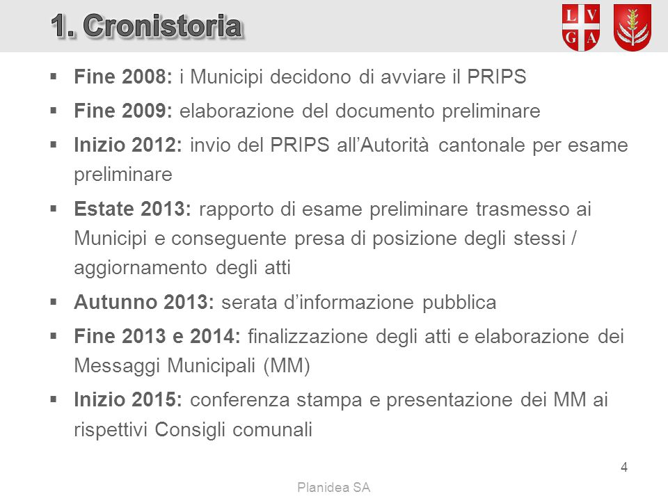  Fine 2008: i Municipi decidono di avviare il PRIPS  Fine 2009: elaborazione del documento preliminare  Inizio 2012: invio del PRIPS all'Autorità c