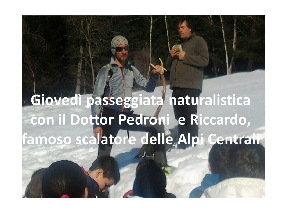 Giovedì passeggiata naturalistica con il Dottor Pedroni e Riccardo, famoso scalatore delle Alpi Centrali
