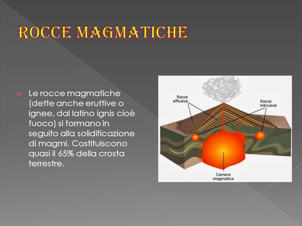  Le rocce magmatiche (dette anche eruttive o ignee, dal latino ignis cioè fuoco) si formano in seguito alla solidificazione di magmi.