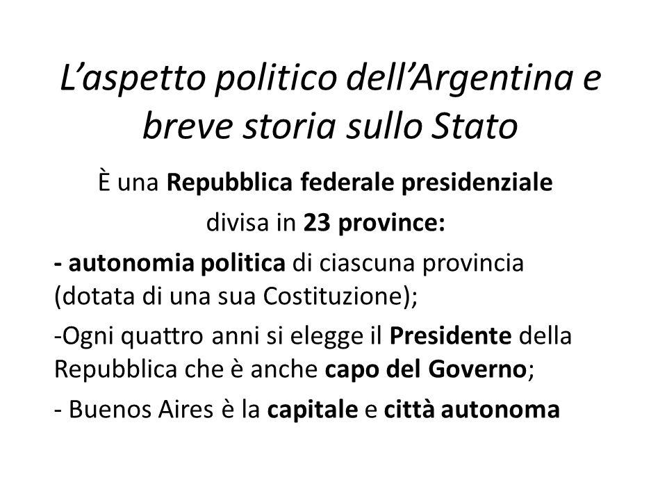 L'aspetto politico dell'Argentina e breve storia sullo Stato È una Repubblica federale presidenziale divisa in 23 province: - autonomia politica di ci