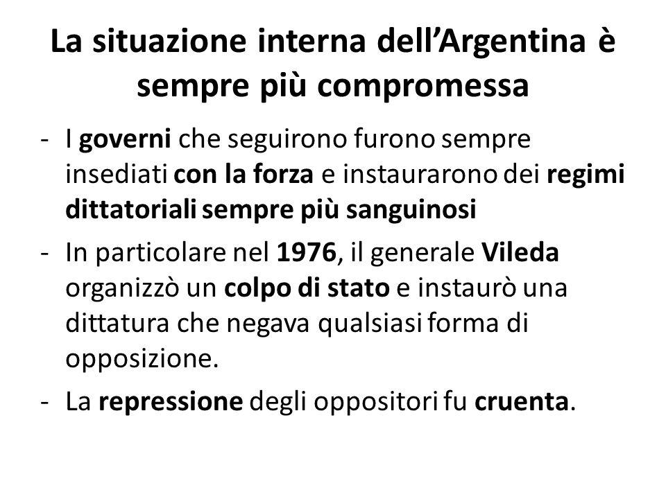 La situazione interna dell'Argentina è sempre più compromessa -I governi che seguirono furono sempre insediati con la forza e instaurarono dei regimi