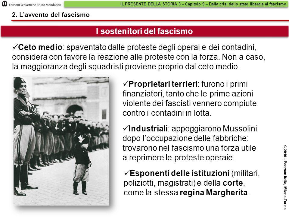 I sostenitori del fascismo Ceto medio: spaventato dalle proteste degli operai e dei contadini, considera con favore la reazione alle proteste con la f