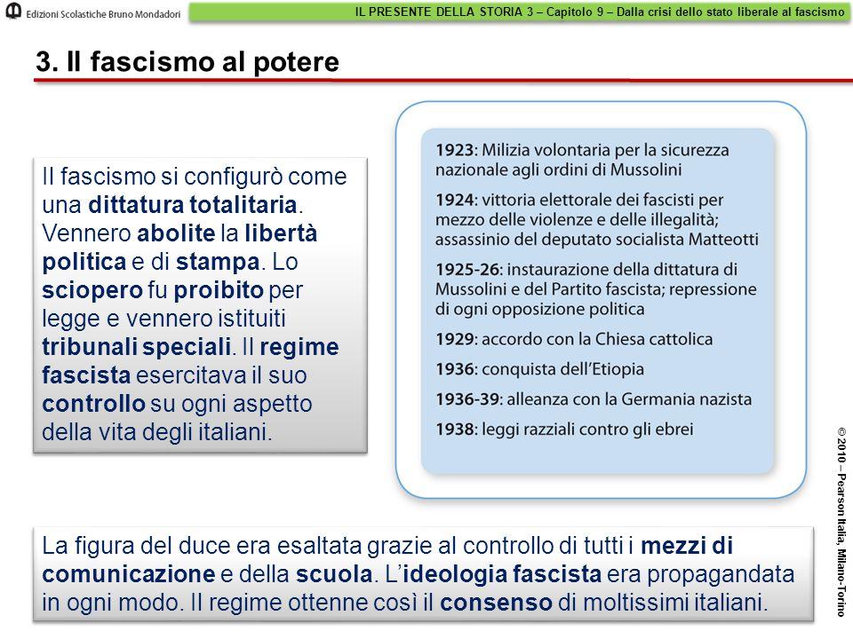 IL PRESENTE DELLA STORIA 3 – Capitolo 9 – Dalla crisi dello stato liberale al fascismo © 2010 – Pearson Italia, Milano-Torino 3. Il fascismo al potere
