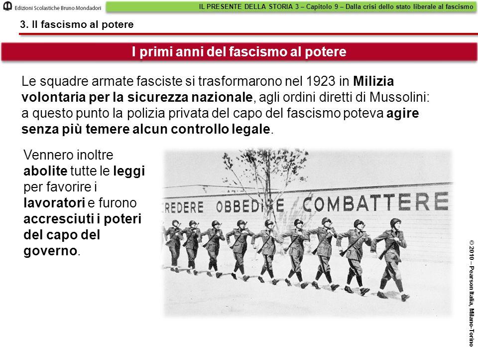 I primi anni del fascismo al potere IL PRESENTE DELLA STORIA 3 – Capitolo 9 – Dalla crisi dello stato liberale al fascismo © 2010 – Pearson Italia, Mi