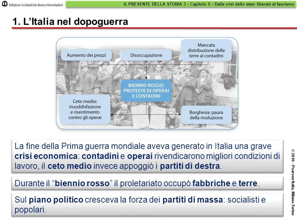 1. L'Italia nel dopoguerra Sul piano politico cresceva la forza dei partiti di massa: socialisti e popolari. La fine della Prima guerra mondiale aveva