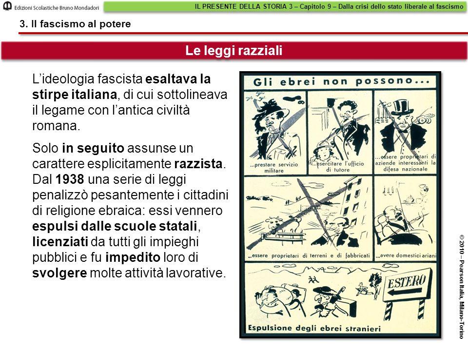 L'ideologia fascista esaltava la stirpe italiana, di cui sottolineava il legame con l'antica civiltà romana. Le leggi razziali IL PRESENTE DELLA STORI