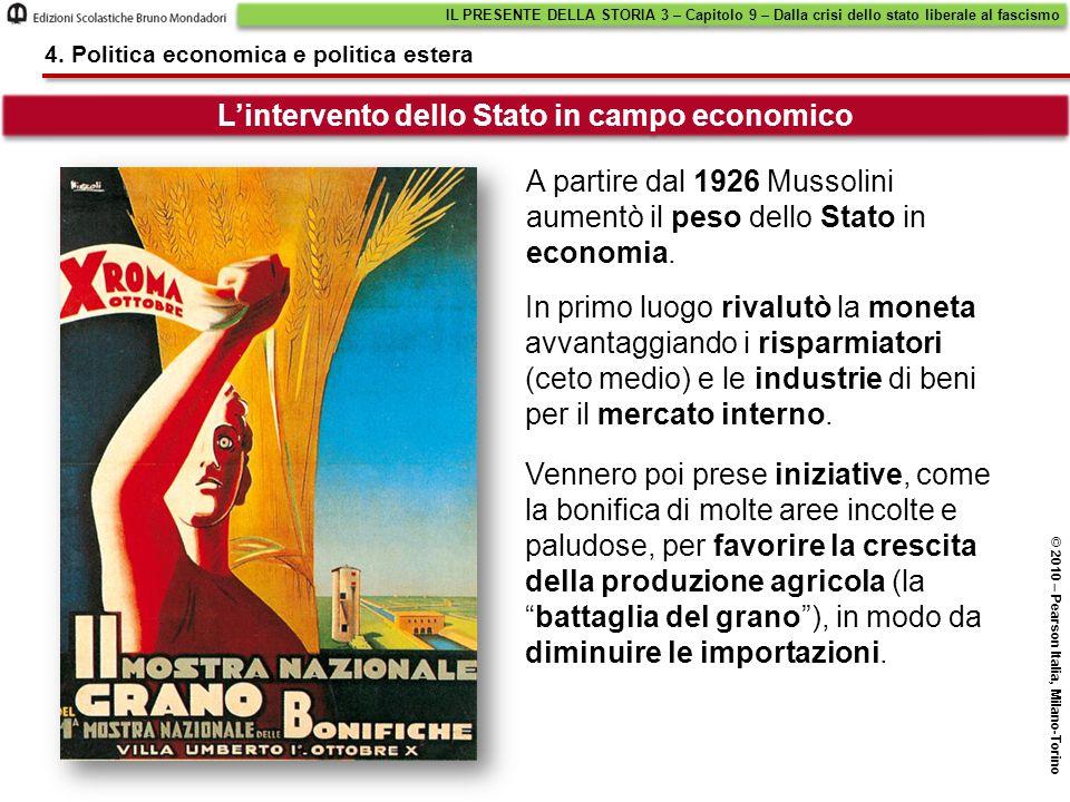 L'intervento dello Stato in campo economico IL PRESENTE DELLA STORIA 3 – Capitolo 9 – Dalla crisi dello stato liberale al fascismo © 2010 – Pearson It