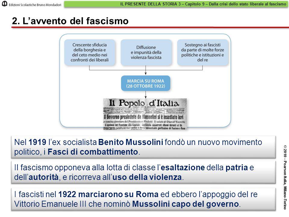 Nel 1929 Mussolini stipulò con la Chiesa cattolica i Patti lateranensi (o Concordato), in base ai quali: I Patti lateranensi IL PRESENTE DELLA STORIA 3 – Capitolo 9 – Dalla crisi dello stato liberale al fascismo © 2010 – Pearson Italia, Milano-Torino 3.