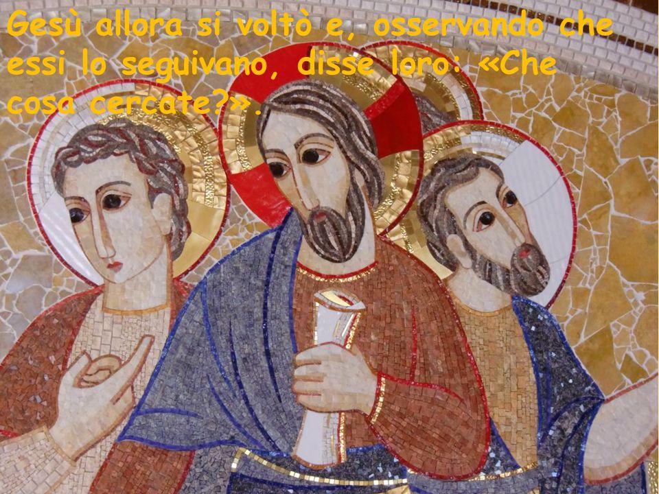 Gesù allora si voltò e, osservando che essi lo seguivano, disse loro: «Che cosa cercate?».