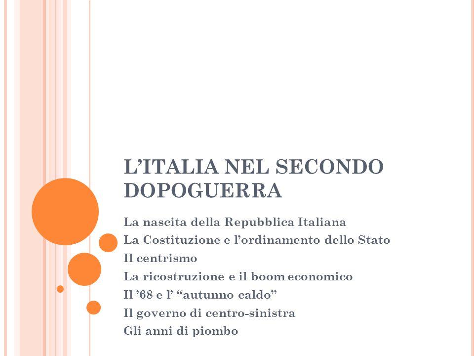 L'ITALIA DIVENTA UNA REPUBBLICA Tutti i partiti messi fuorilegge dal fascismo si uniscono in un governo moderato, guidato da Alcide de Gasperi (Democrazia Cristiana).
