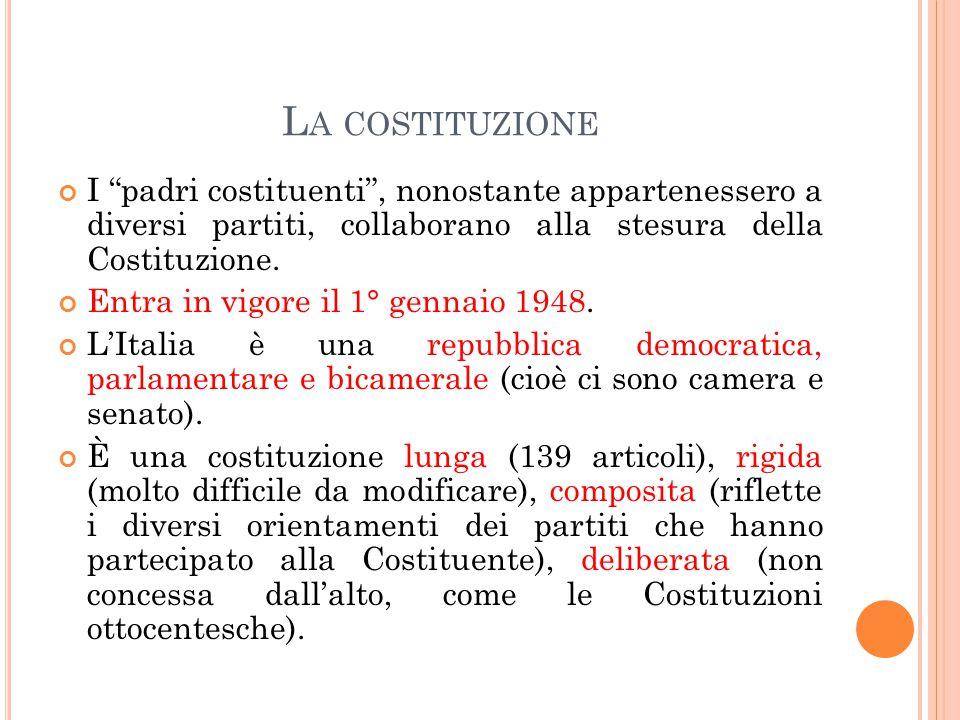 LO STATO ITALIANO Potere legislativo: Parlamento, composto da Camera dei Deputati (630) e Senato (315 eletti, 5 senatori a vita nominati dal Presidente della Repubblica, ex presidenti).