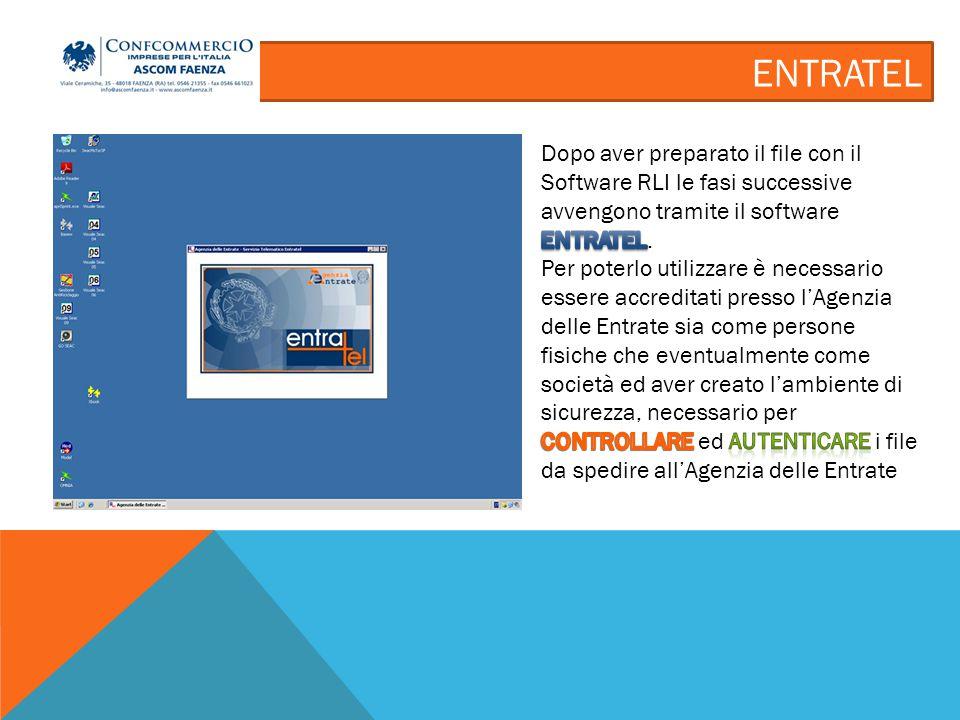ENTRATEL – INVIO FILE Una volta compilato i dati richiesti cliccando su il file viene spedito.