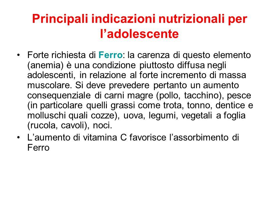 Principali indicazioni nutrizionali per l'adolescente Forte richiesta di Ferro: la carenza di questo elemento (anemia) è una condizione piuttosto diffusa negli adolescenti, in relazione al forte incremento di massa muscolare.