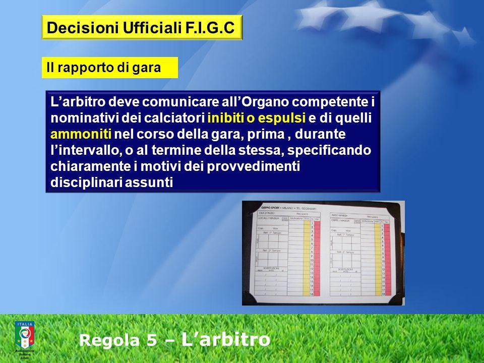 Regola 5 – L'arbitro L'arbitro deve comunicare all'Organo competente i nominativi dei calciatori inibiti o espulsi e di quelli ammoniti nel corso dell