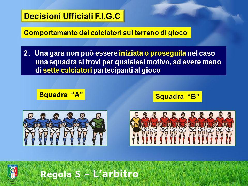 Regola 5 – L'arbitro 2. Una gara non può essere iniziata o proseguita nel caso una squadra si trovi per qualsiasi motivo, ad avere meno di sette calci
