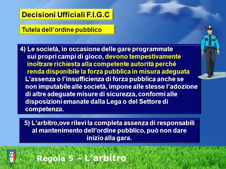 Regola 5 – L'arbitro 4) Le società, in occasione delle gare programmate sui propri campi di gioco, devono tempestivamente inoltrare richiesta alla com