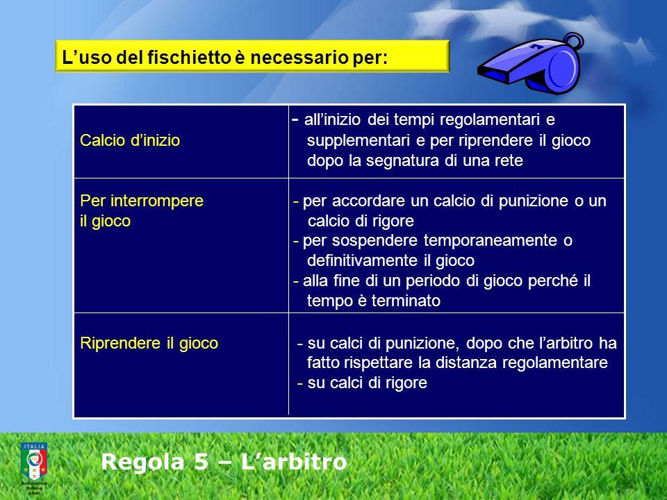 Regola 5 – L'arbitro - all'inizio dei tempi regolamentari e Calcio d'inizio supplementari e per riprendere il gioco dopo la segnatura di una rete Per