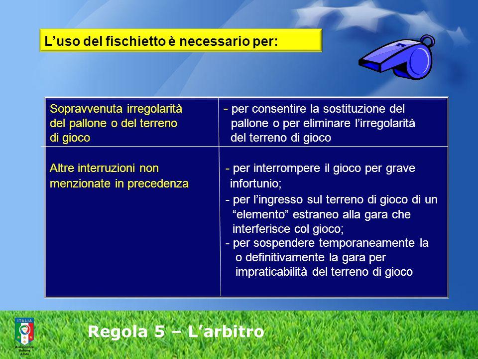 Regola 5 – L'arbitro Sopravvenuta irregolarità - per consentire la sostituzione del del pallone o del terreno pallone o per eliminare l'irregolarità d