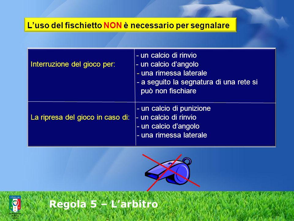 Regola 5 – L'arbitro - un calcio di rinvio Interruzione del gioco per: - un calcio d'angolo - una rimessa laterale - a seguito la segnatura di una ret