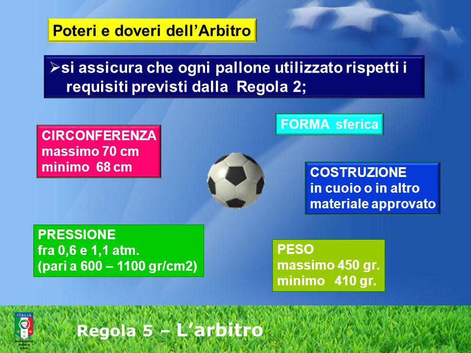  si assicura che l'equipaggiamento dei calciatori rispetti i requisiti previsti della Regola 4; Poteri e doveri dell'Arbitro