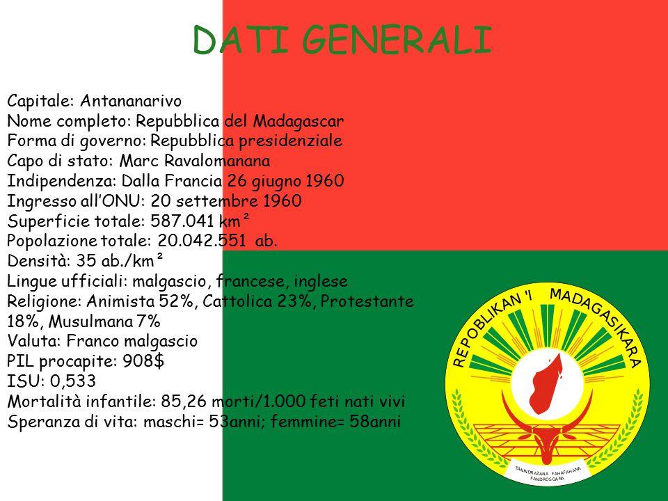 DATI GENERALI Capitale: Antananarivo Nome completo: Repubblica del Madagascar Forma di governo: Repubblica presidenziale Capo di stato: Marc Ravaloman