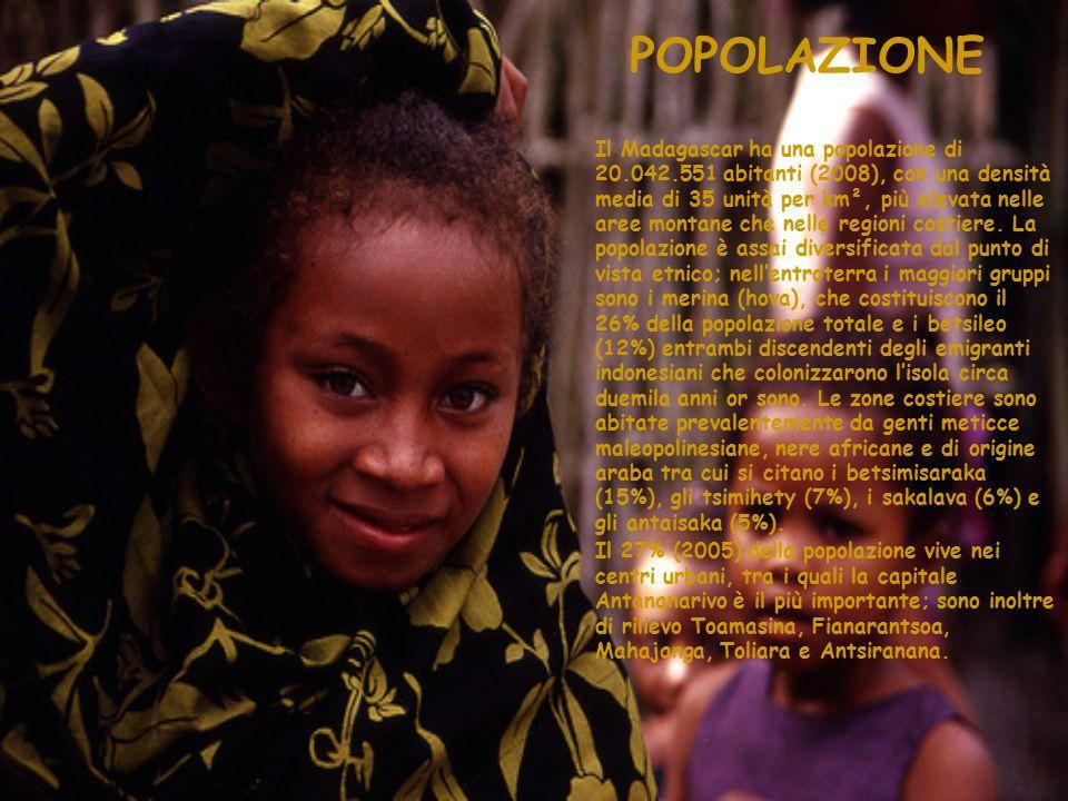 POPOLAZIONE Il Madagascar ha una popolazione di 20.042.551 abitanti (2008), con una densità media di 35 unità per km², più elevata nelle aree montane