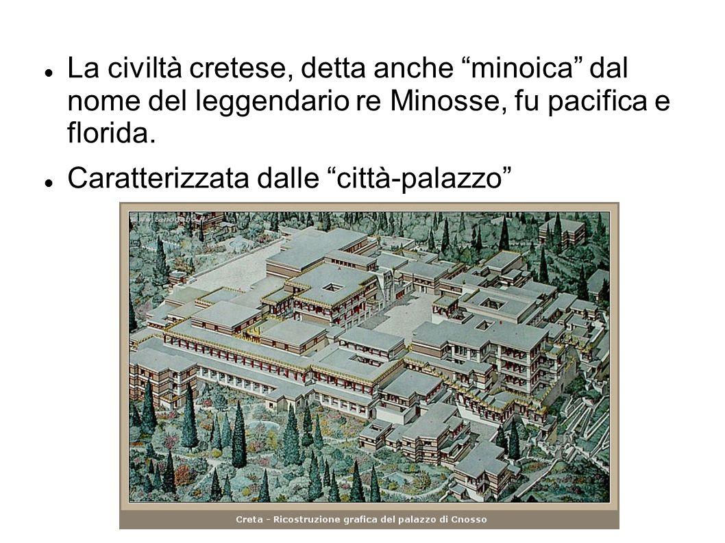 """La civiltà cretese, detta anche """"minoica"""" dal nome del leggendario re Minosse, fu pacifica e florida. Caratterizzata dalle """"città-palazzo"""""""